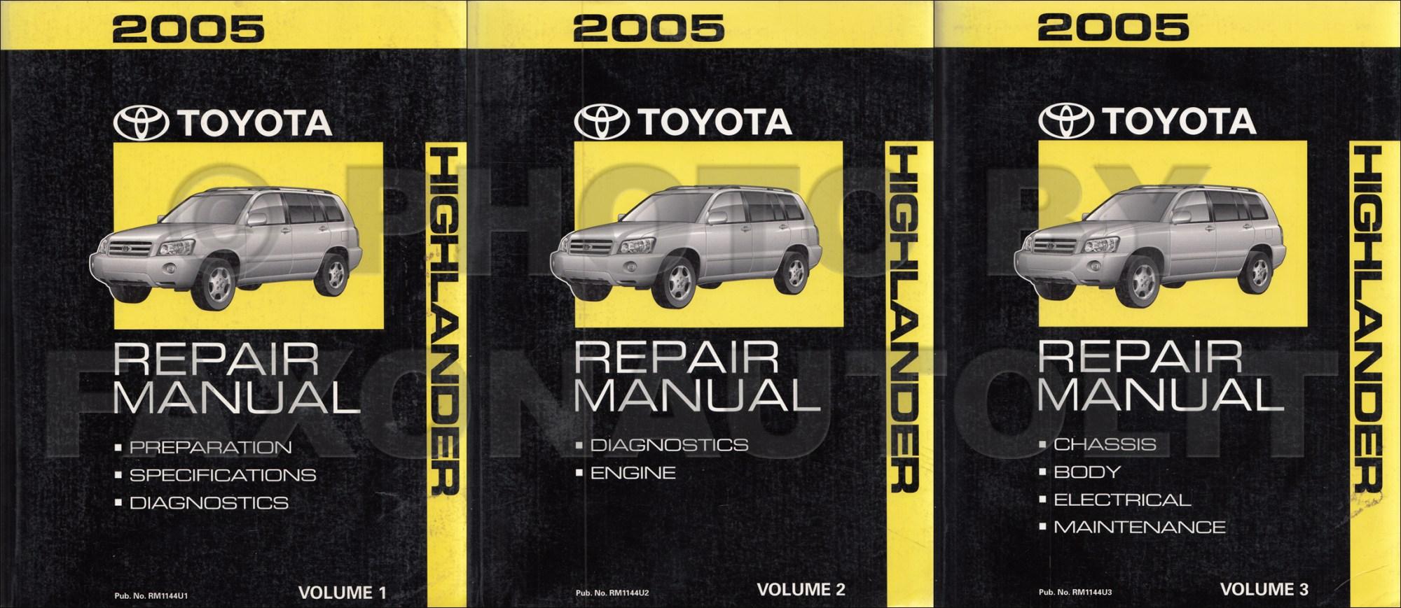 hight resolution of 2004 toyota highlander repair manual original set