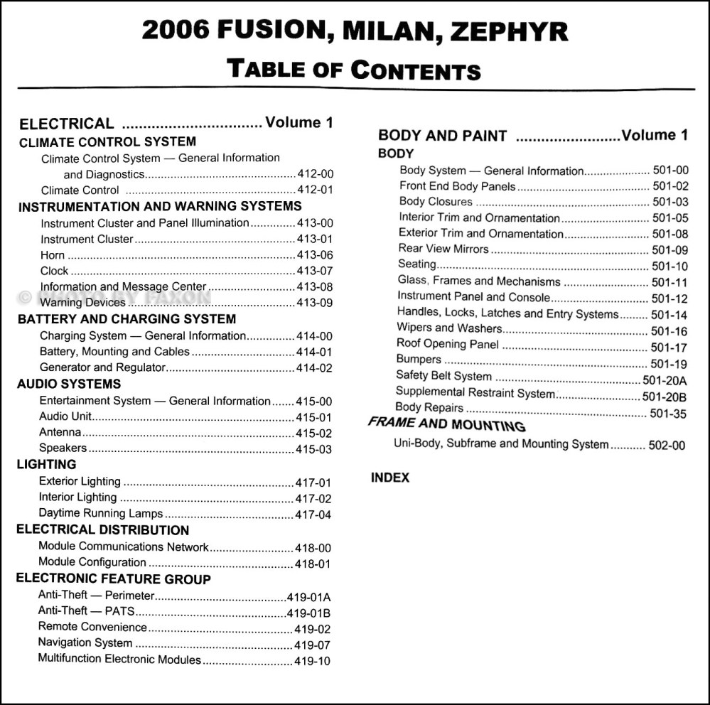 medium resolution of table of contents page 2 ford fusion 2006 fuse box