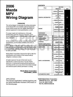 2006 Mazda MPV Wiring Diagram Manual Original