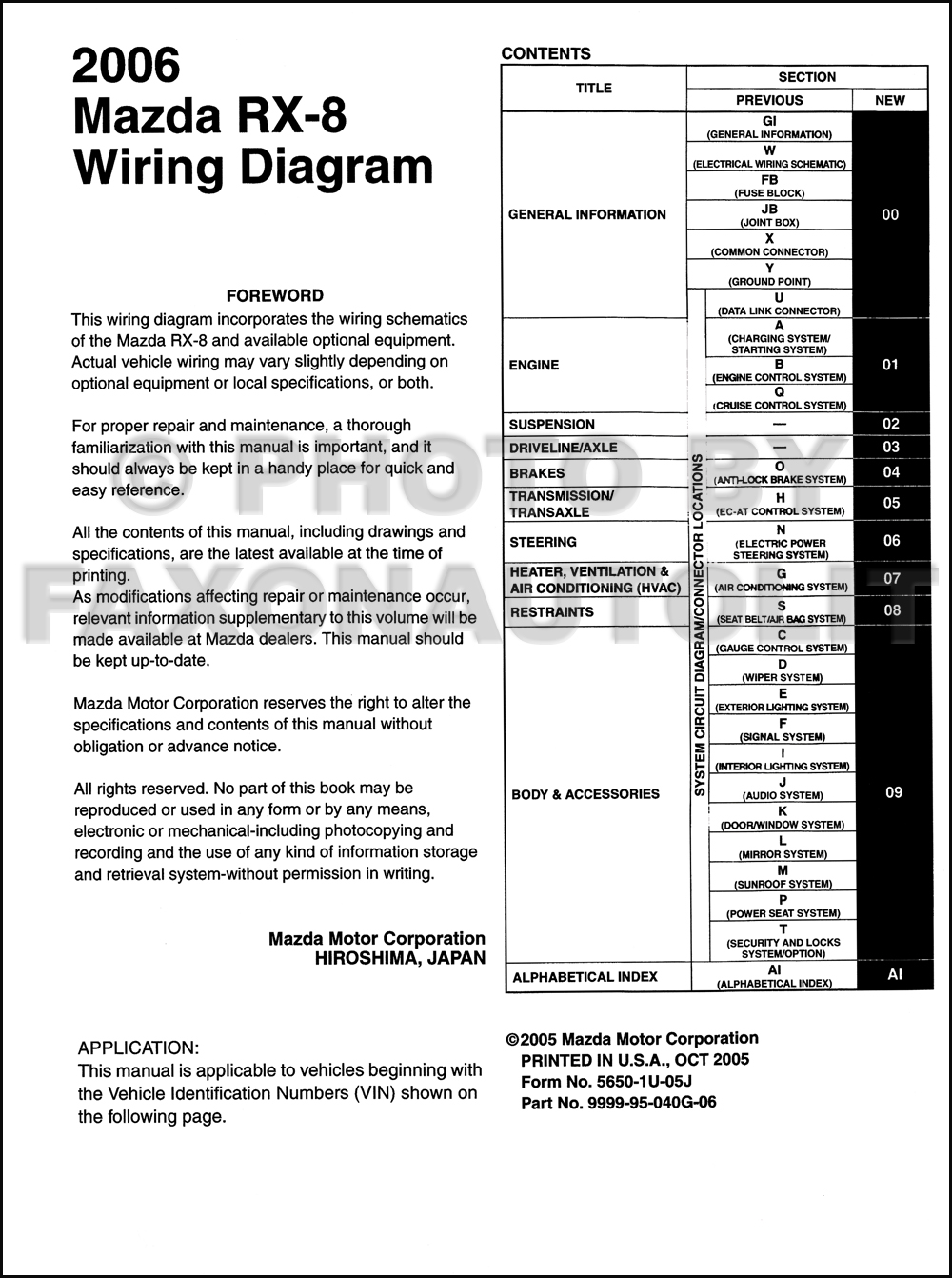 mazda wiring diagram color codes electric radiator cooling fan 2006 rx-8 manual original rx8