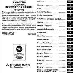 Exploded Axon Diagram 2005 Kia Sedona Parts 2006 Mitsubishi Eclipse Body Manual Original