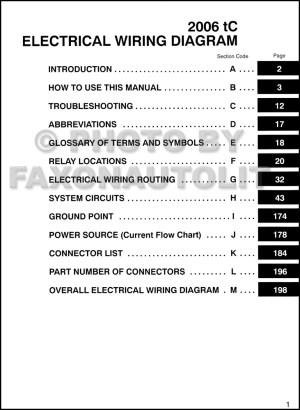 2006 Scion tC Wiring Diagram Manual Original