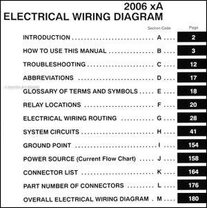 2006 Scion xA Wiring Diagram Manual Original