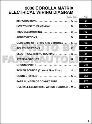 2006 Toyota Matrix Wiring Diagram Manual Original