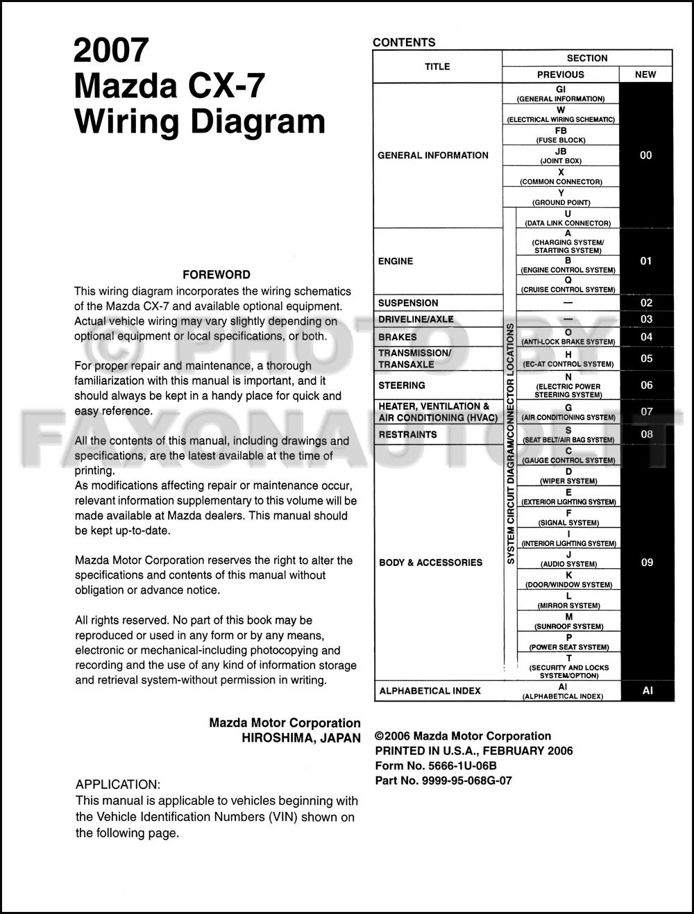 medium resolution of 2007 mazda cx 7 wiring diagram manual original mazda cx 7 audio wiring diagram