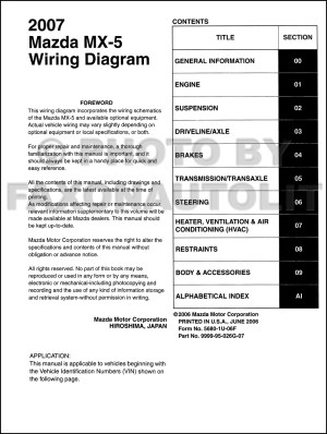 2007 Mazda MX5 Miata Wiring Diagram Manual Original
