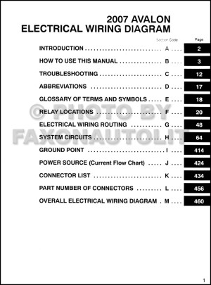 2007 Toyota Avalon Wiring Diagram Manual Original