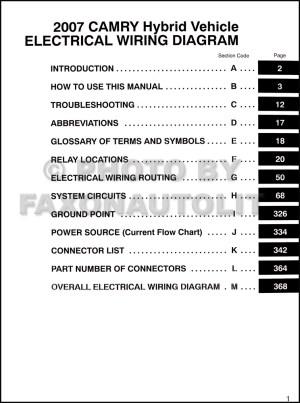 2007 Toyota Camry Hybrid Wiring Diagram Manual Original