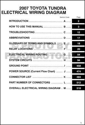 2007 Toyota Tundra Wiring Diagram Manual Original