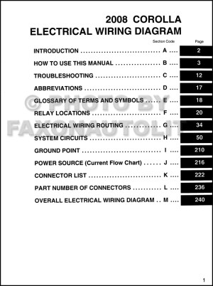2008 Toyota Corolla Wiring Diagram Manual Original