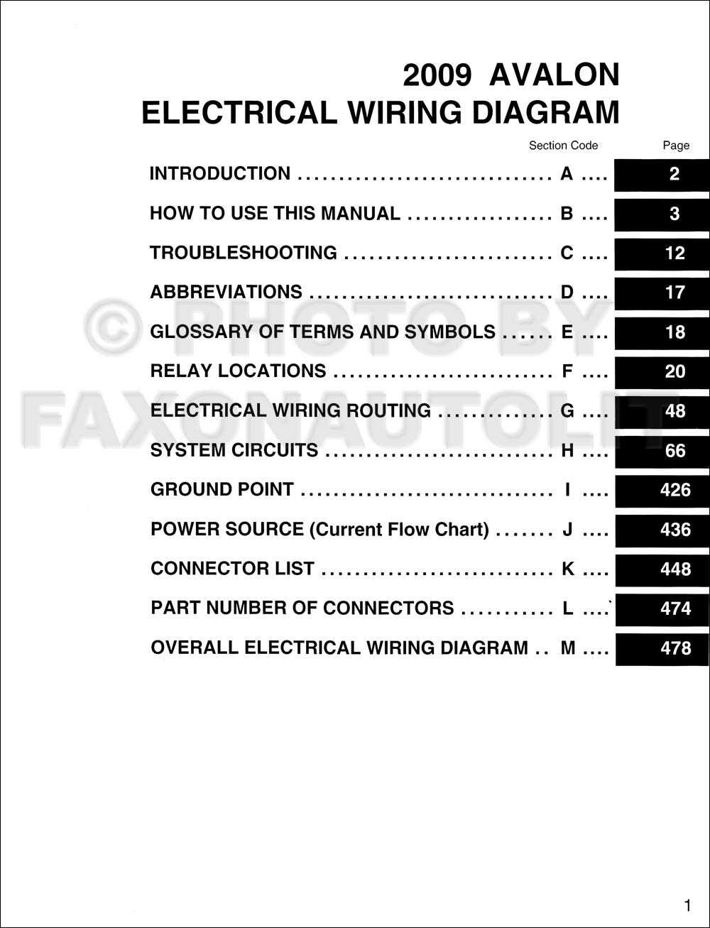 2001 Toyota Avalon Wiring Diagram Manual Original