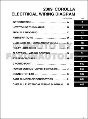 2009 Toyota Corolla Wiring Diagram Manual Original