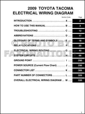 2009 Toyota Taa Pickup Wiring Diagram Manual Original