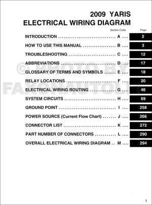 2009 Toyota Yaris Wiring Diagram Manual Original