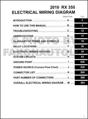 2010 Lexus RX 350 Wiring Diagram Manual Original