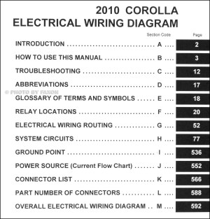 2010 Toyota Corolla Wiring Diagram Manual Original