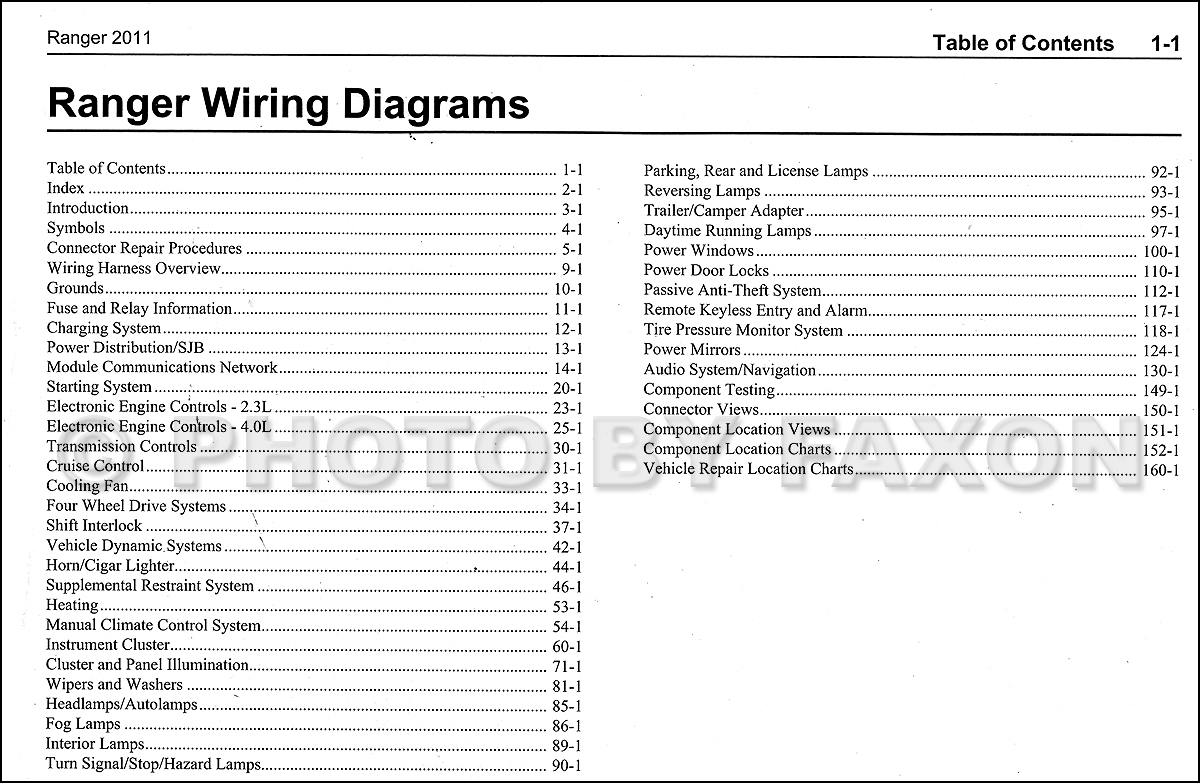 2011 Ford Ranger Wiring Diagram Manual Original