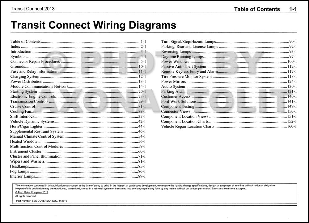2013 Ford Transit Connect Wiring Diagram Manual Original