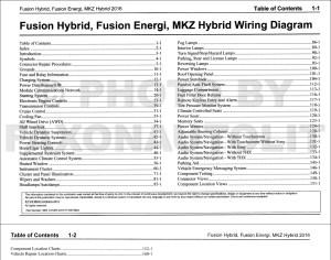 2016 Ford Fusion Energi Hybrid Lincoln MKZ HYBRID Wiring