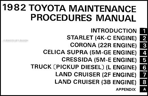 1982 Toyota Car & Truck Maintenance Procedures Manual Original