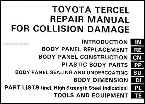 1983-1986 Toyota Tercel Body Collision Manual Original