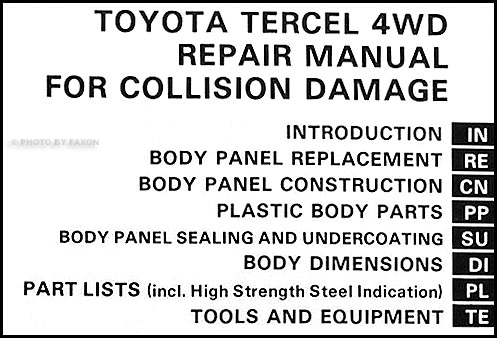 1983-1988 Toyota Tercel 4WD Station Wagon Body Repair