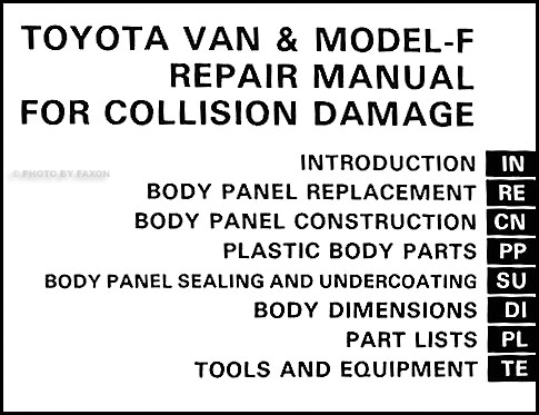1984-1989 Toyota Van & Model-F Body Collision Repair Shop