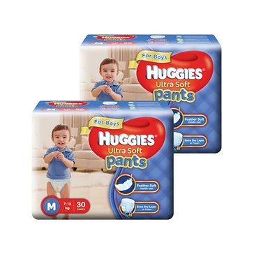 Huggies Ultra Soft Pants Medium Size Premium Diapers For Boys 30 Pieces - Pack Of 2
