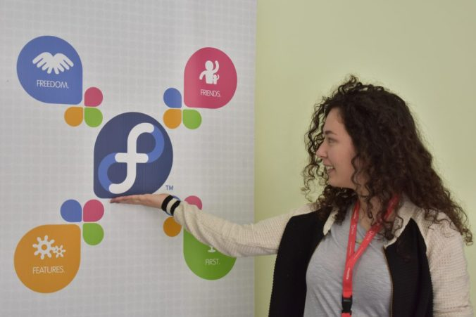 Fedora Ambassador Anxhela Hyseni at the Fedora community table at Linux Weekend 2017 in Tirana, Albania