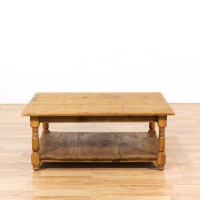 Rustic Pine Coffee Table w/ Shelf | Loveseat Vintage ...
