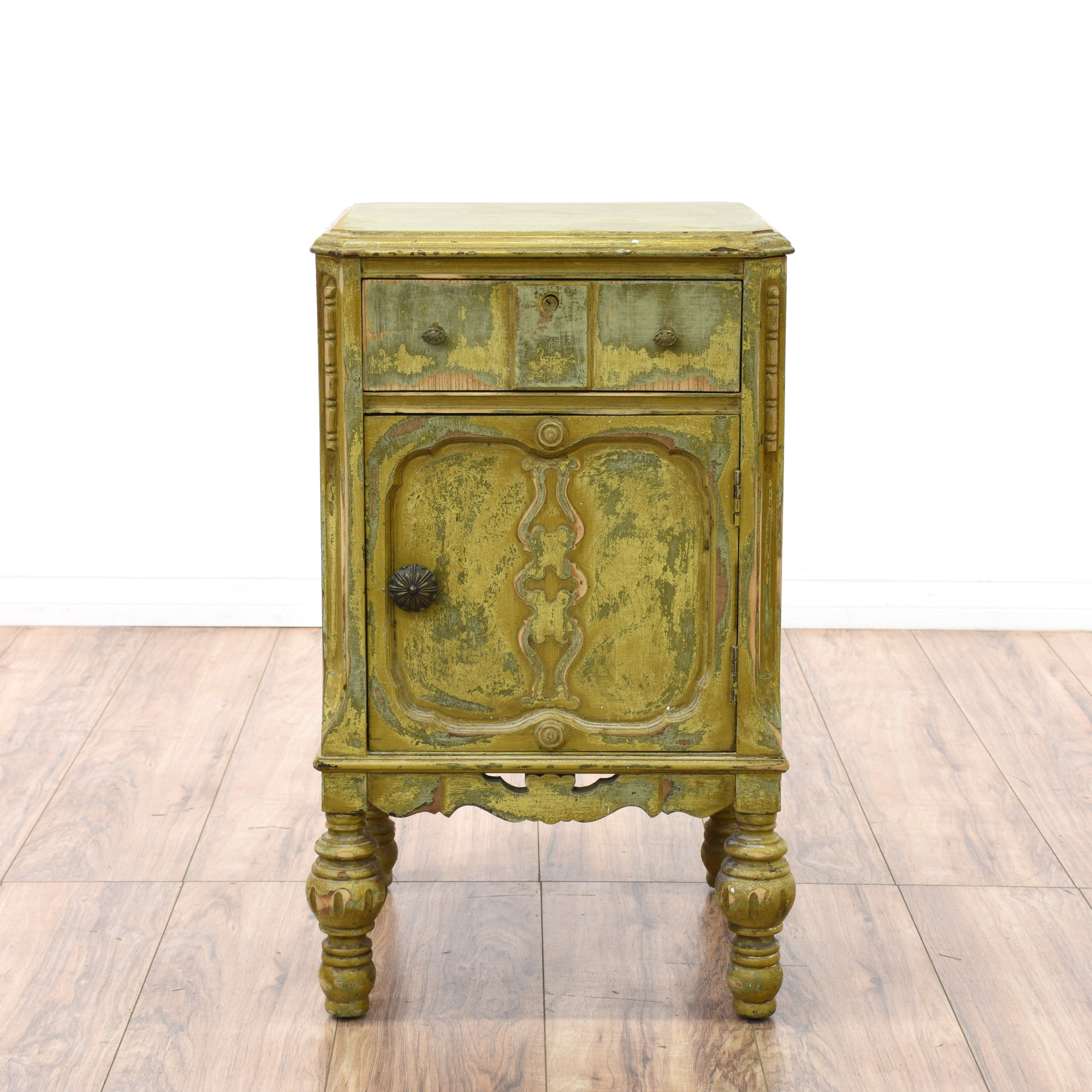 Shabby Chic Distressed Green Nightstand