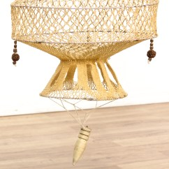 Hanging Chair Loveseat Desk With No Wheels Woven Macrame Plant Holder 1 Vintage