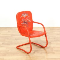 Retro Red Painted Metal Outdoor Chair | Loveseat Vintage ...