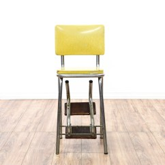Old Fashioned Kitchen Chair Step Stool Cabinets Hinges Retro Industrial Yellow Loveseat Vintage