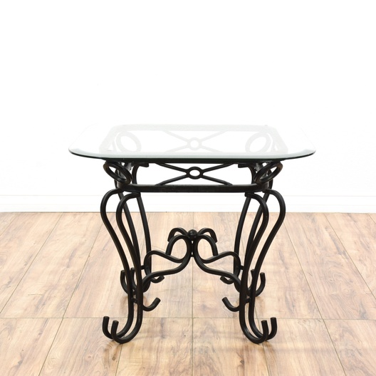 black wrought iron glass top end table loveseat com san diego