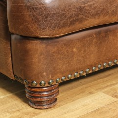 Brown Leather Studded Sofa Cheap Furniture Ralph Lauren Style Loveseat Vintage