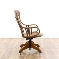 Antique Wood Swivel Desk Chair | Loveseat Vintage ...