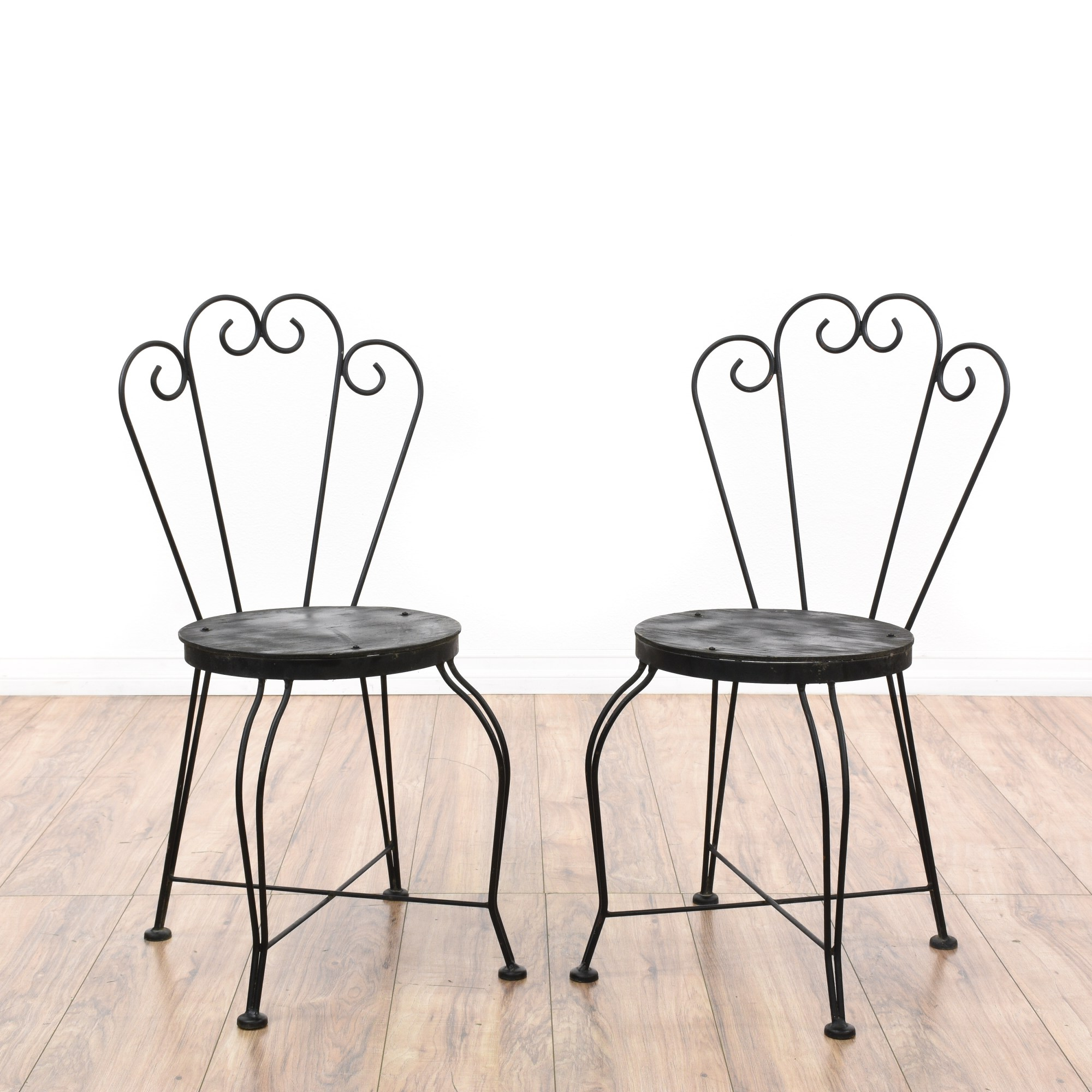 Outdoor Cafe Chairs Pair Of Black Metal Outdoor Cafe Chairs Loveseat Vintage