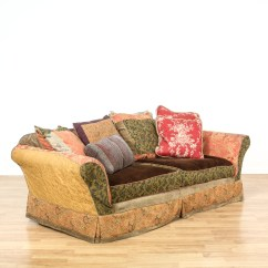 Bohemian Sofa Bed Reupholster My Leather Slipcovered Multicolored Loveseat Vintage