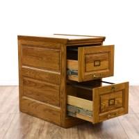 Solid Oak 2 Drawer Filing Cabinet | Loveseat Vintage ...