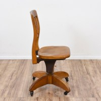 Vintage Wood Swivel Office Desk Chair | Loveseat Vintage ...