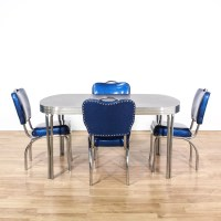 Retro Chrome Dinette Set w/ 4 Blue Vinyl Chairs