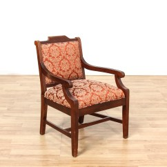 Floral Upholstered Chair High Cover Graco Mahogany Stained Arm Loveseat