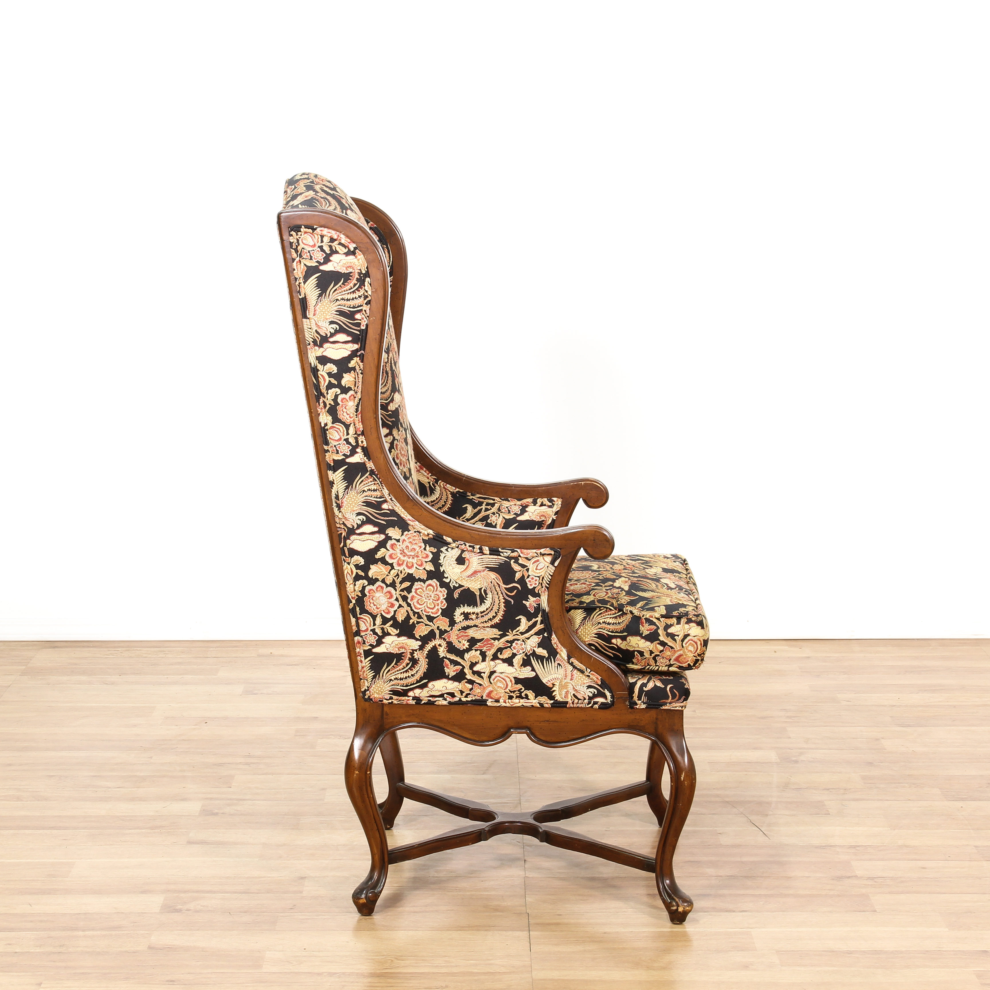 floral print accent chairs retro white chair tall walnut wingback loveseat