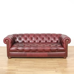 Burgundy Leather Sofa And Loveseat T35 Black Sectional Tufted Vintage Furniture