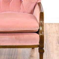 Velvet Armchair Pink High Chair Straps Tufted Accent Loveseat Vintage