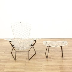 Bertoia Style Chair White Baxton Studio Modern Leather Accent Black And Chrome Harry Bird Wire Stool