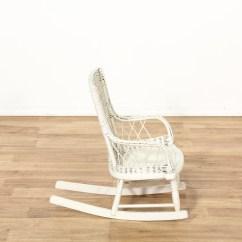 Vintage Wicker Rocking Chair Mid Century Uk Child 39s White Painted Loveseat