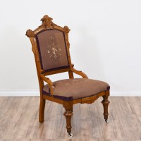Victorian Floral Carved Needlepoint Chair