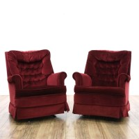 Pair Of Red Rocking Upholstered Swivel Chairs | Loveseat ...